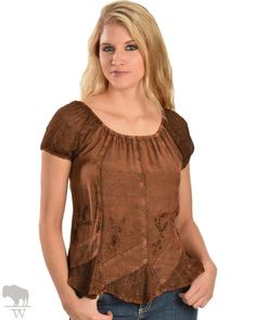Women's Peasant Style Top by Scully Leather