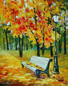 OIL ON CANVAS PAINTING DIRECTLY FROM FAMOUS ARTIST LEONID AFREMOV  Title: White Bench Size: 24 x 30 inches (60 cm x 75 cm) Condition: Excellent Brand New Gallery Estimated Value: $ 5,000 Type: Original Recreation Oil Painting on Canvas by Palette Knife  This is a recreation of a piece which was already sold.  Its not an identical copy, its a recreation of an old subject. This recreation will have texture unique just to this painting, a fingerprint that can never be repeated. My recreation…
