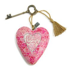 Brave Heart Art Heart   Art Hearts are designed to either hang from the tasseled cord or sit using the decorative key.  Look on the back of each limited edition heart to find the name of the artist