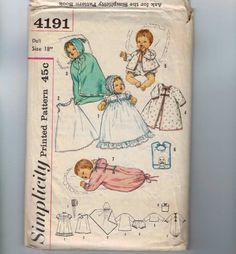 1960s Vintage Sewing Pattern Simplicity 4191 12 16 18 20 Inch Baby Doll Layette Gown Bib Hooded Blanket Slip Bonnet  1960s.