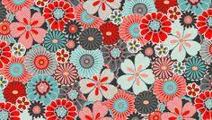 tissu au mètre fleurs de style japonais sur fond gris : Tissus Habillement, Déco par l-idee