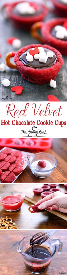 Red Velvet Hot Chocolate Cookie Cups recipe for Valentine's Day with red velvet cookie cups, chocolate ganache, a pretzel handle and mini marshmallows.