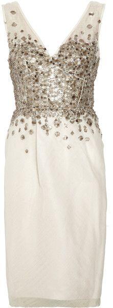 LELA ROSE Embellished Silk Organza Dress