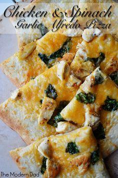 Chicken & Spinach Garlic Alfredo Pizza | The Modern Dad