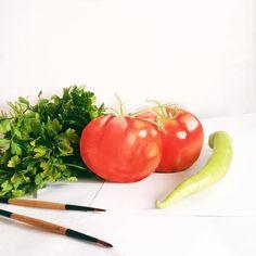 """Instagram'da Elif Kübra Çakır: """"Mis kokulu domatesler çizdim yaz çok uzakta olamaz  #tomato #drawing #watercolor"""""""