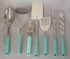 7 Vintage EKCO Aqua Turquoise Vintage kitchen tools utensils - NICE!!!!