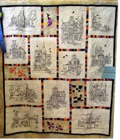 Lovethis version of the Hocuspocusville quilt - Quilt Inspiration. Quilt Inspiration: Best of Halloween Part 2 Halloween Embroidery, Halloween Quilts, Theme Halloween, Halloween 2013, Halloween Crafts, Halloween Ideas, Halloween Sewing, Halloween Goodies, Cross Stitch Embroidery