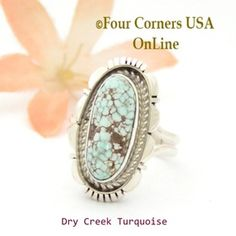 Size 7 Dry Creek Turquoise Sterling Ring Navajo Artisan Robert Concho NAR-1796 Four Corners USA OnLine Native American Jewelry