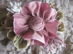 French Ombre Millinery Ribbon Flower Pin~Corsage ~Ribbonwork~