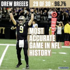 Drew Brees decided to break not 1 but 2 records last night! After breaking Peyton Manning's record for the most TD passes ever, he became the QB with the highest completion % in a game. Completing 29 of 30 passes for a completion rating of ! Football Love, Football Girls, Football Memes, Nfl Football, Football Players, Nba Basketball, Football Season, College Football, Saints Game