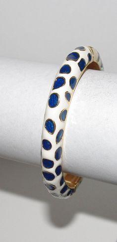 KJL Bangle Bracelet - Navy Blue and White Spots - S2475