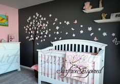 Contemporary cherry blossom tree wall decal with blowing flowers and beautiful birds and butterflies. We can do this wall decal in any size Nursery Wall Decals, Nursery Room Decor, Project Nursery, Girl Nursery, Girl Room, Baby Bedroom, Kids Bedroom, Tree Decals, Tree Wall