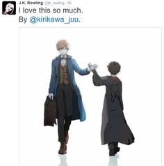"""Photo: """"J.K. Rowling: @kirikawa_juu Thank you for that beautiful painting. It really moved me! They're [Newt and Harry] two characters that mean so much to me."""""""