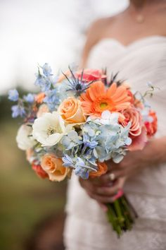 Blue Coral bouquet | Katherine Stinnett Photography