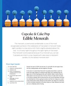 Edible Cupcake Menorah by Bella Baker on Kara's Party Ideas www.KarasPartyIdeas.com!