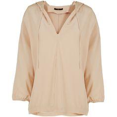 Tibi Silk Hooded Sweatshirt ($385) ❤ liked on Polyvore featuring tops, hoodies, hooded sweatshirt, beige hoodie, tibi top, tibi and silk top