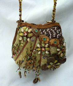 MARY FRANCES BEADED CANVAS LEATHER JEWELED PEARLS STRAPPED CLUTCH HANDBAG PURSE #MaryFrances #Clutch