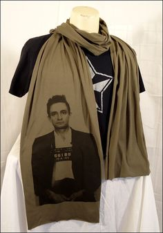 Army Brown Johnny Cash Sheer Cotton Scarf. $20.00