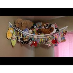 Huijukon Jumbo Toy Hammock Storage Net Organizer for Soft Stuffed Animals, Nursery Play, Teddies(59 x 39 x 39 inches): Huijukon: Amazon.co.uk: Toys & Games