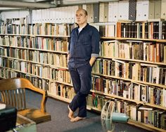Luc Sante on the bookshelves in his basement office:The books are there not just because I esteem them and need to look things up, but also because they represent an external hard drive for my mind. That is, running my eye down the rows will refresh my memory, reframe my thoughts, alert me to counterexamples and lacunae in my lines of argument.From The Writer's Room.Filed under: work spaces