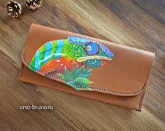 Woman Leather Wallet, Women's Wallet, Leather Wallet, Leather Gift, Leather Purse, Painted Leather Wallet.