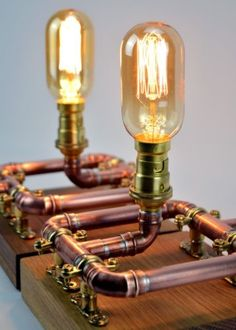 Pair of Industrial Copper Pipe Bedside Table Lamps on Reclaimed Oak Stands