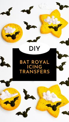 This free royal icing transfer pattern will teach you how to make cute bat royal icing transfers! Add these adorable bat royal icing transfers to Halloween cookies, Halloween cupcakes, or any other Halloween treat! #thebearfootbaker #batcookies #halloweencookies #royalicingtransfers