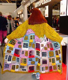 knitted coat handmade YELLOW HUNDERTWASSER for by annalesnikova