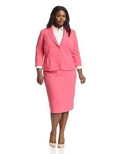Tahari by ASL Plus Crepe Skirt Suit (Coral)
