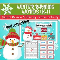 WINTER Rhyming Words Review - DIGITAL / SELF-CHECKING review & activity  PPT