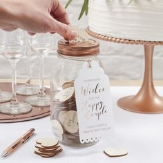 Wishing jar is lovely alternative guestbook for weddings. www.somethingold.fi