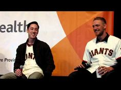 2/9/13.  Oh, this is good.  Egged on by the crowd, HUNTER PENCE does his impression of Timmy's crazy wind-up and delivery and  this prompts TIM LINCECUM to stand up and do an impression of HUNTER PENCE's crazy batting stance and swing.  MUST SEE!!!