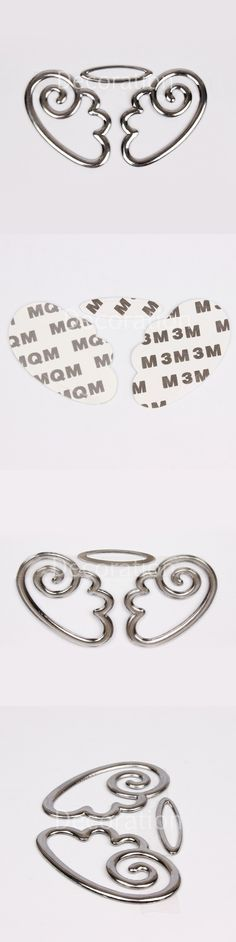 1set automobile external accessories 3D metal angel wings car stickers cute decorative stickers