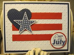 """4th of July Card Card Stock: Whisper White, Night of Navy, Real Red DSP: Real Red Color Collection DSP Stack Brights Stamp Set: July Fourth Ink: Night of Navy Punches: Large Star, 1 3/8"""" circle, 1 1/4"""" circle"""
