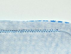 """idea for sewing with knit fabrics: sew seams with a stretch stitch or with a narrow, shortened zigzag stitch (about 1/16"""" wide by 16 stitches long - eight zigs and eight zags to the inch)"""
