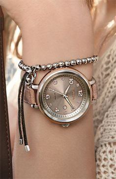 Fossil Bridgette Watch and Michael Kors beaded stretch bracelet