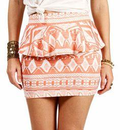 Coral/White Peplum Tribal Skirt on Wanelo