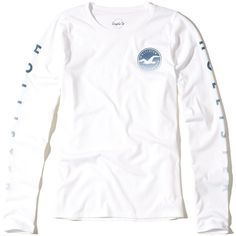 Hollister Long-Sleeve Graphic Tee ($25) ❤ liked on Polyvore featuring tops, t-shirts, white, long sleeve crew neck tee, white long sleeve t shirt, white tee, white crew neck t shirt and long sleeve t shirts