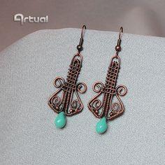 Dangle earrings turquoise jewelry drop earrings wire by Artual