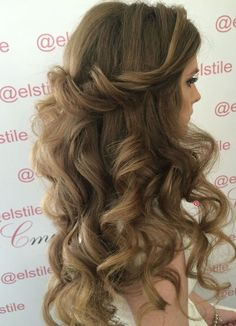 Twisted Back Curly Wedding Hairstyle