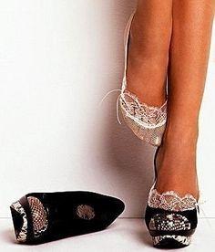 Lacy socks dress up black heels