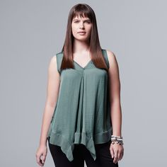 Plus Size Simply Vera Vera Wang Handkerchief Tank, Women's, Size: 3XL, Green