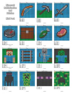 Free Minecraft Multiplication and Division Coloring Pages #Minecraft