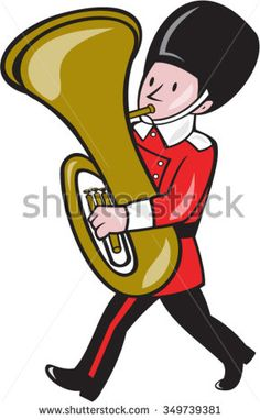 Illustration of a brass band member playing tuba set on isolated white background done in cartoon style.  - stock vector #brassband #cartoon #illustration