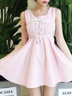 Cute Pink Stripe Skate Dress - Fashion Clothing, Latest Street Fashion At Abaday.com