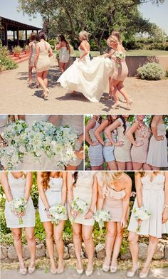 love the different bridesmaids dresses