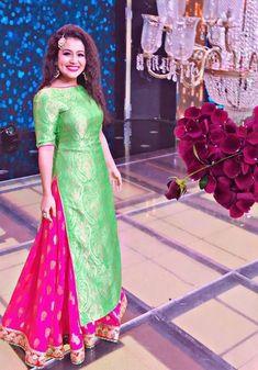 Neha Kakkar In Parrot Green Lehenga Suit,Brocade & Raw Silk Lehenga choli,Printed Work Lehenga choli,wedding Lehenga choli,Buy Lehenga choli online Indian Gowns Dresses, Brocade Dresses, Indian Fashion Dresses, Indian Designer Outfits, Pakistani Dresses, Indian Outfits, Brocade Suits, Shadi Dresses, Punjabi Dress