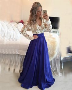 Hot Sale Substantial Long Sleeves Prom Dresses, Blue Prom Dresses, VNeck Prom Dresses Custom Made Glorious VNeck Prom Dresses Long Sleeves Royal Blue V Neck High Quality Prom Dress Evening Dresses Party Gowns Beaded Evening Gowns, Blue Evening Dresses, Prom Dresses Long With Sleeves, Prom Dresses With Sleeves, Prom Dresses Blue, Sexy Dresses, Dress Prom, Long Dresses, Chiffon Prom Dresses