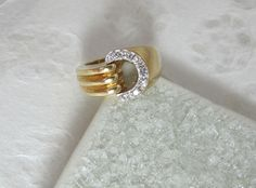 """Sz 6 14K Solid Yellow And White Gold Diamond Ring - Modern Buckle - Initial """"C"""" or """"D"""" by MollisMuse on Etsy https://www.etsy.com/listing/489508417/14k-solid-yellow-and-white-gold-diamond"""