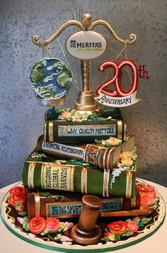 Law Firm 20th | Cake as law books stacked with a scale of ju… | Flickr